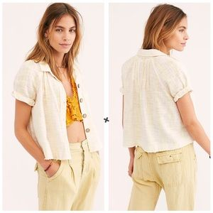 Free People We The Free Away At Sea Linen Top